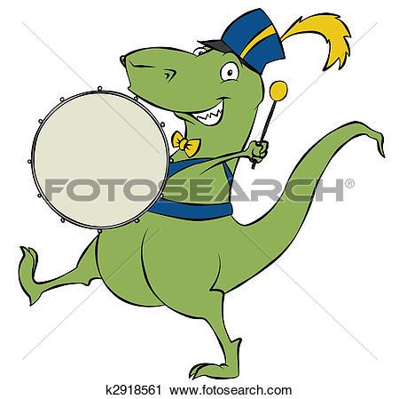 Clipart of Parading Dinosaur k2918561.