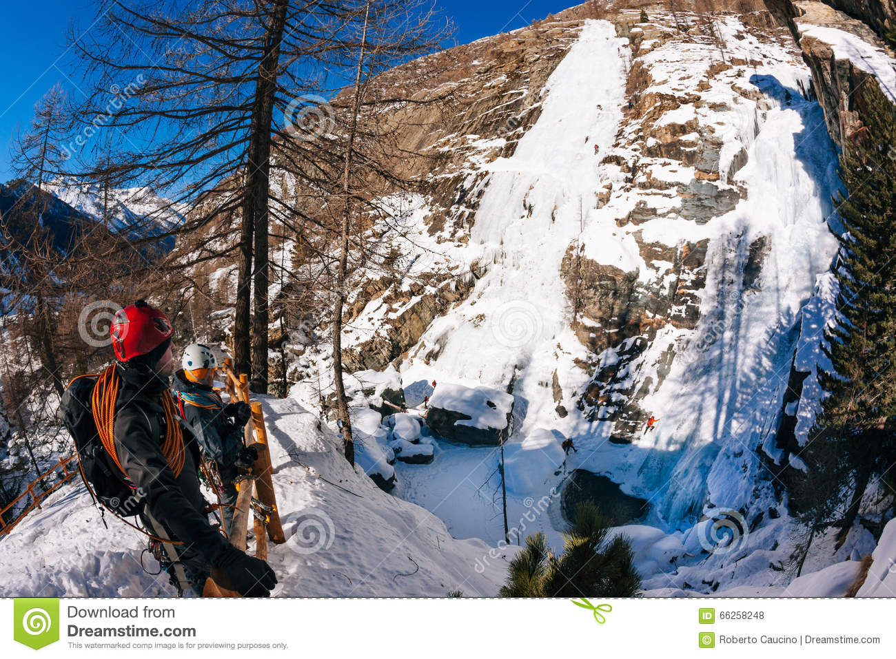 Lillaz Icefall: Ice Climbing Paradise. Concepts: Extreme Sport.