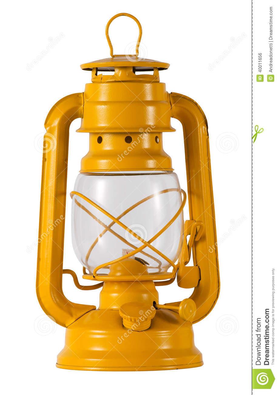 Yellow Metal Hurricane Lamp Stock Photo.