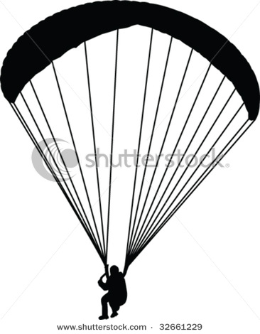 Clipart Illustration Showing a Person, a Paraglider, Paragliding.