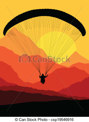 Vector Clip Art of Paragliding vector background landscape concept.