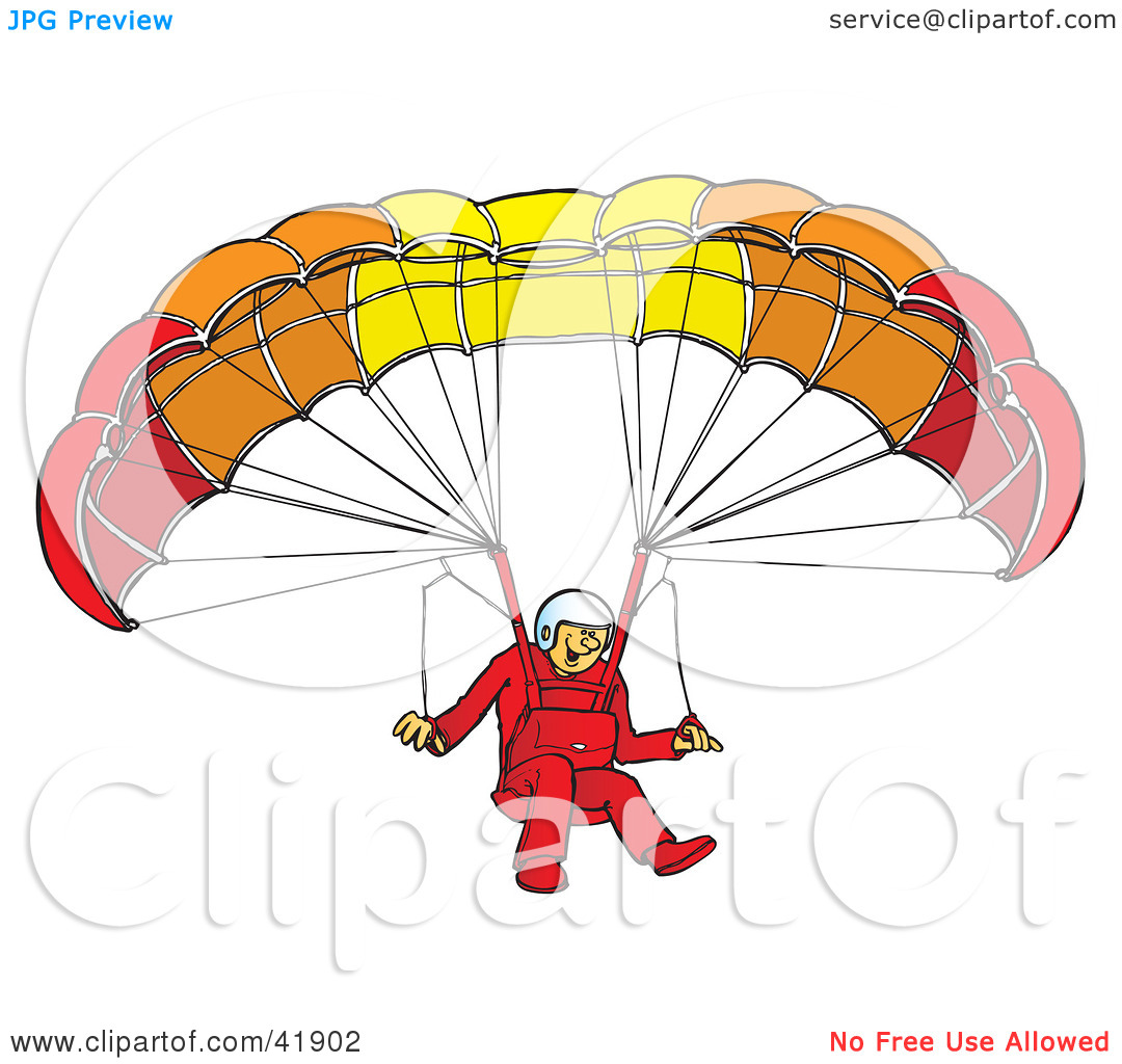 Clipart Illustration of a Happy Paraglider Connected To A.
