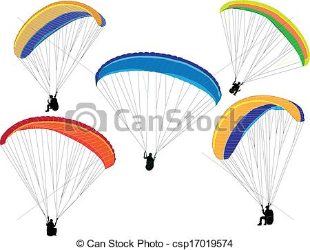 Vectors Illustration of paraglider silhouette.
