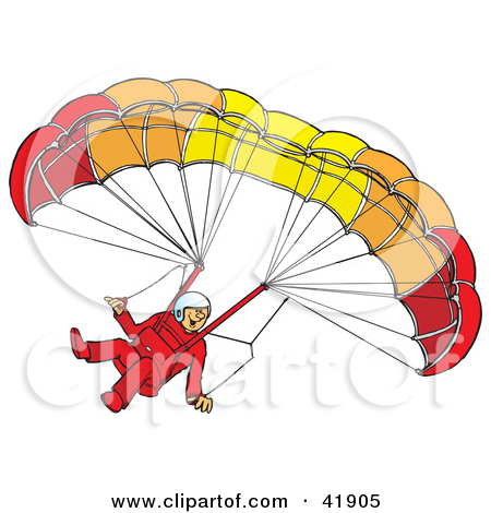 Clipart of a White Man Paragliding.