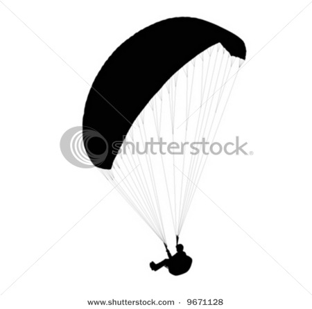 Clip Art Picture of the Silhouette of a Person Paragliding in This.