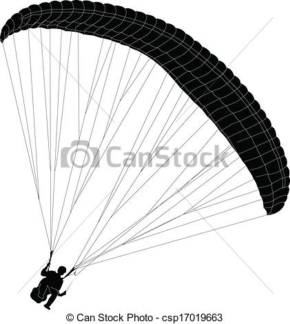 Clip Art Vector of paraglider silhouette.