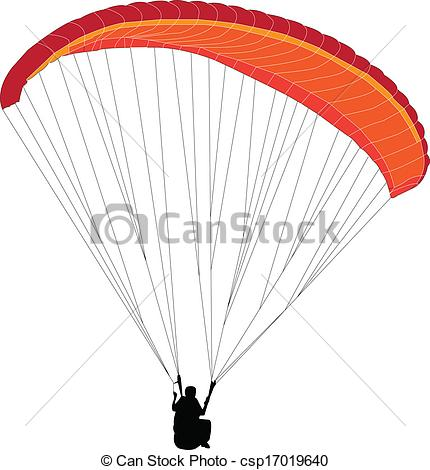 Clipart Vector of paragliding.