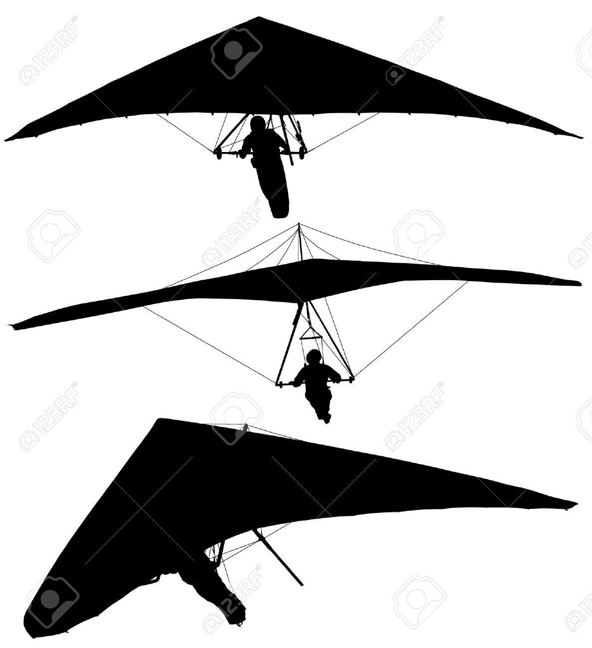 Paraglider silhouette clipart.