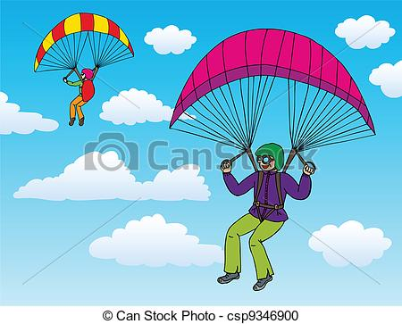 Vector Clipart of Two paragliders on sky.