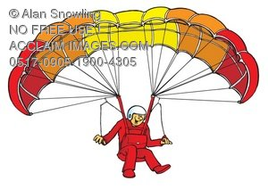 Clipart Illustration of Paraglider Landing.