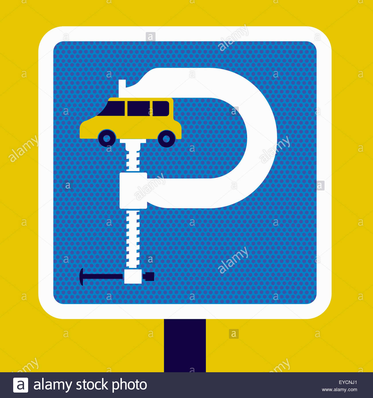 Parking Sign With Car Squeezed In Vise Stock Photo, Royalty Free.