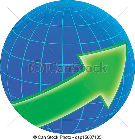 Vector Clipart of globe and green arrow.