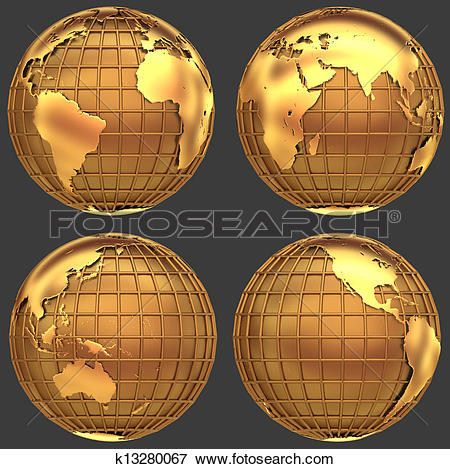 Picture of Stylized golden globe of the Earth with a grid of.