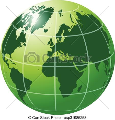 Clipart Vector of Green Globe with meridians and parallels.