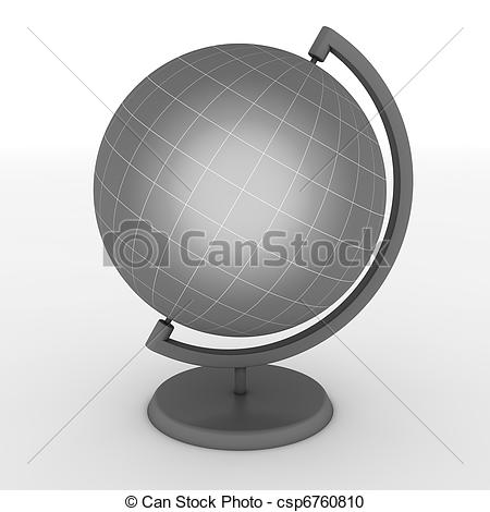 Stock Illustration of Grey School Globe with Meridians and.