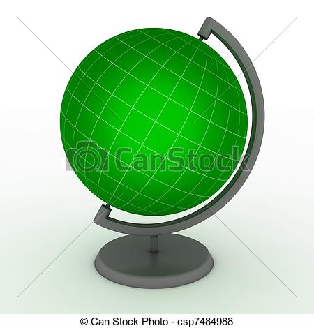 Stock Illustration of Green School Globe with Meridians and.