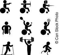 Paralympic games Clip Art Vector Graphics. 65 Paralympic games EPS.
