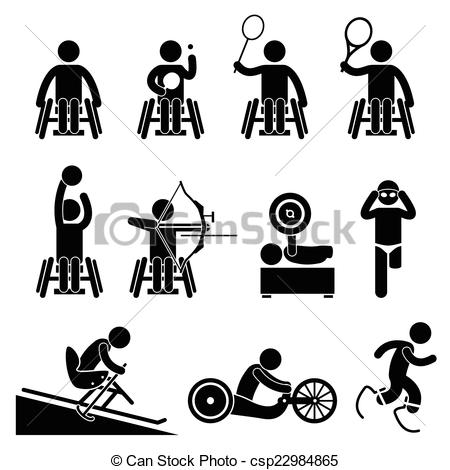 Clip Art Vector of Disable Handicap Sport Paralympic.