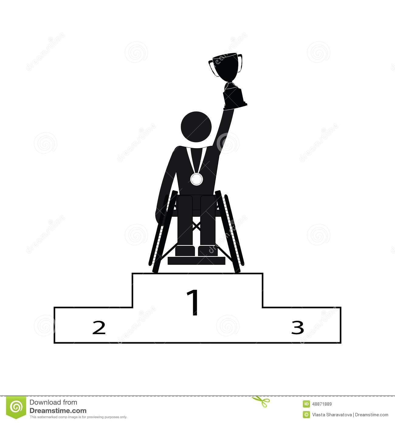 Disable Handicap Sport Paralympic Games Stick Figure Pictogram.