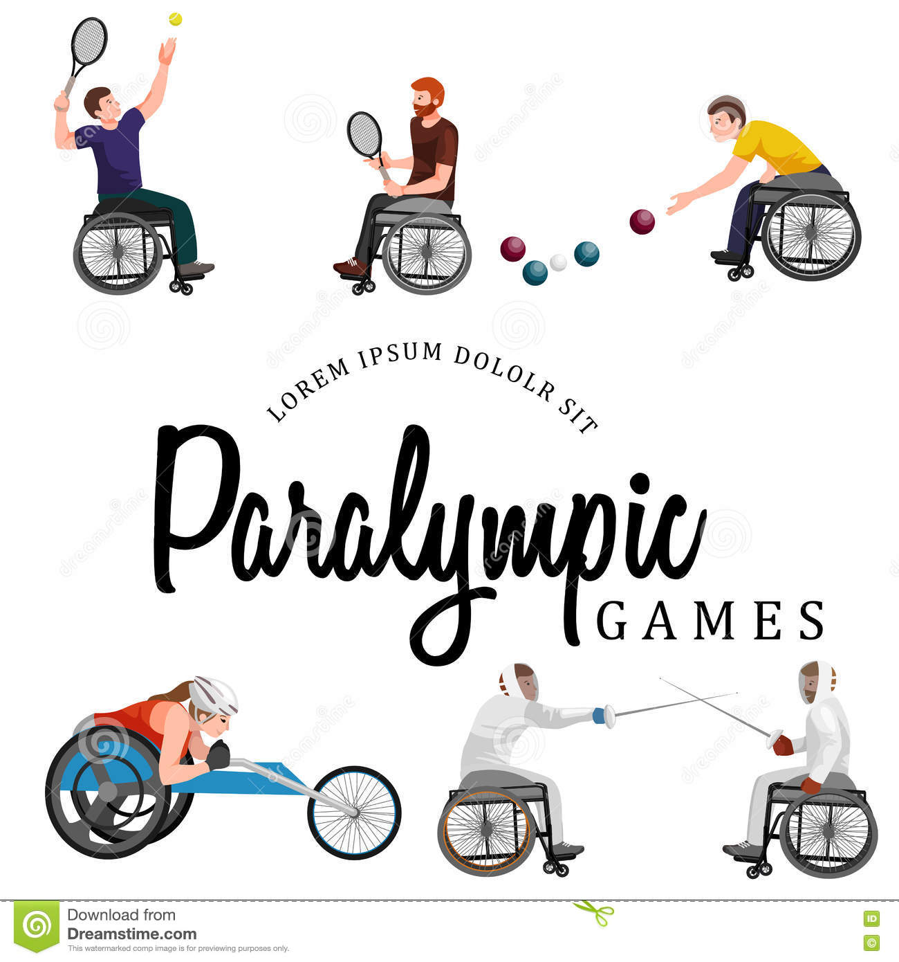 Disable Handicap Sport Paralympic Games Stick Figure Pictogram.