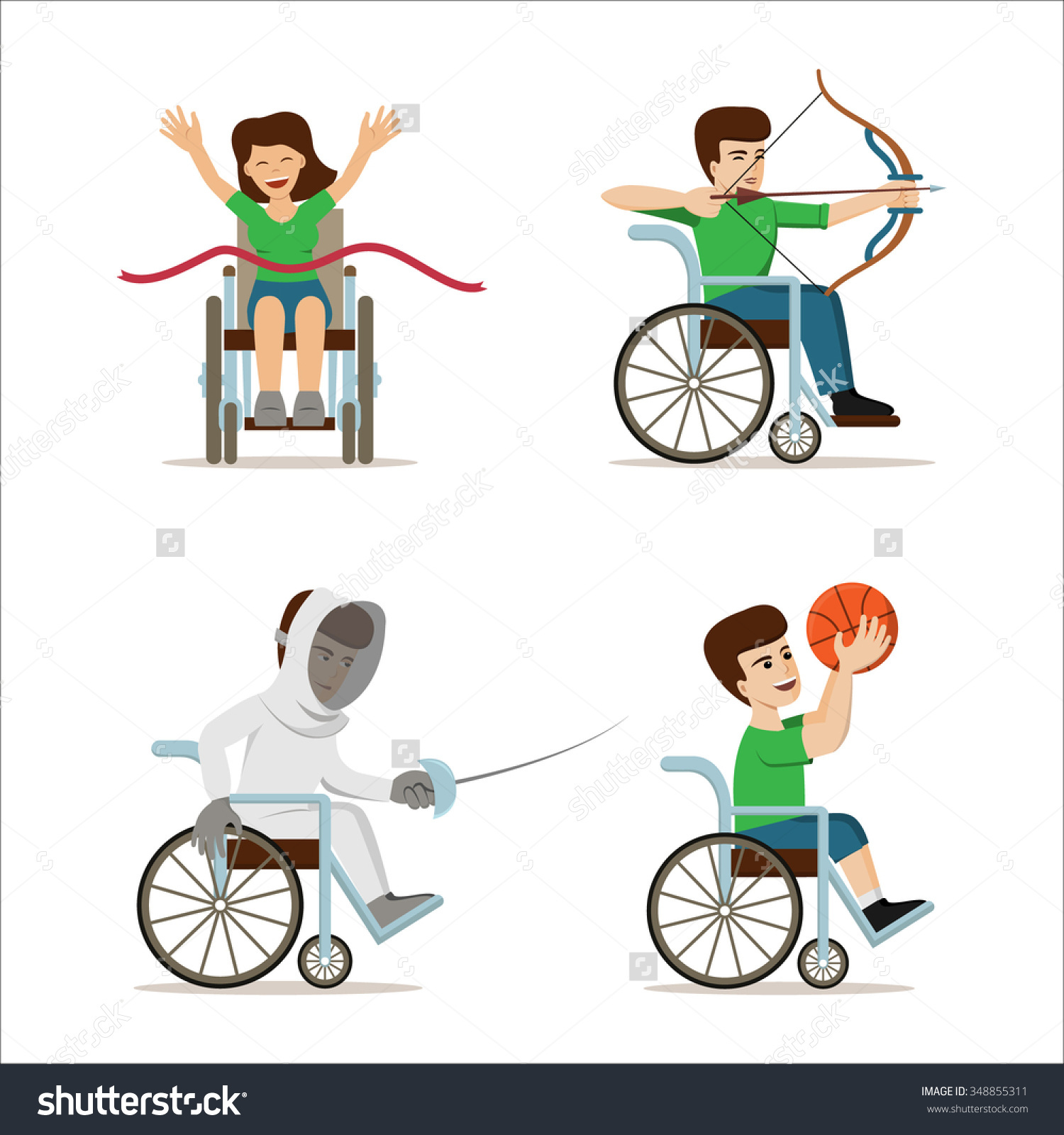 Set Vector Illustration Disabled Athletes Concept Stock Vector.