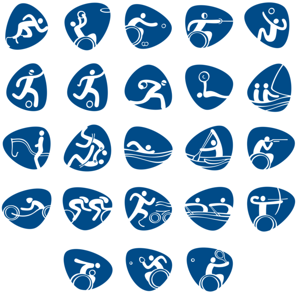 Paralympic Games Rio 2016 Official PNG Transparent Pictograms.