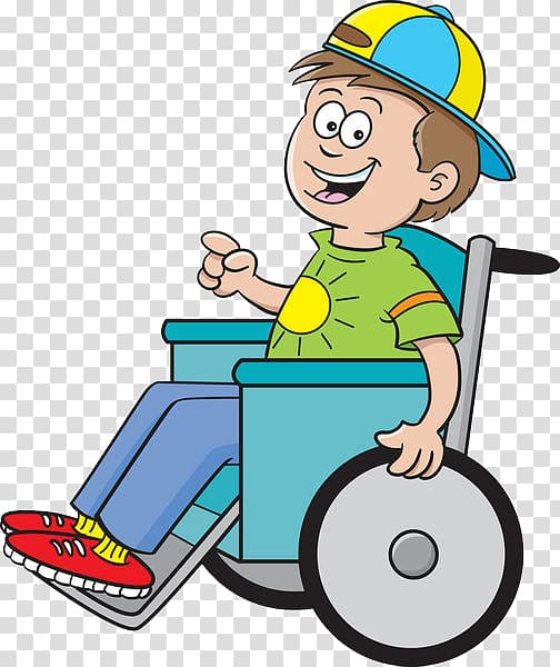 Wheelchair Cartoon Boy Illustration, A paralyzed child.