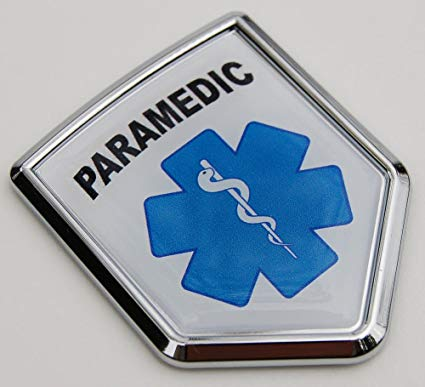 Paramedic Paramedics EMS Flag Car Chrome Emblem 3D Decal bumper Sticker.