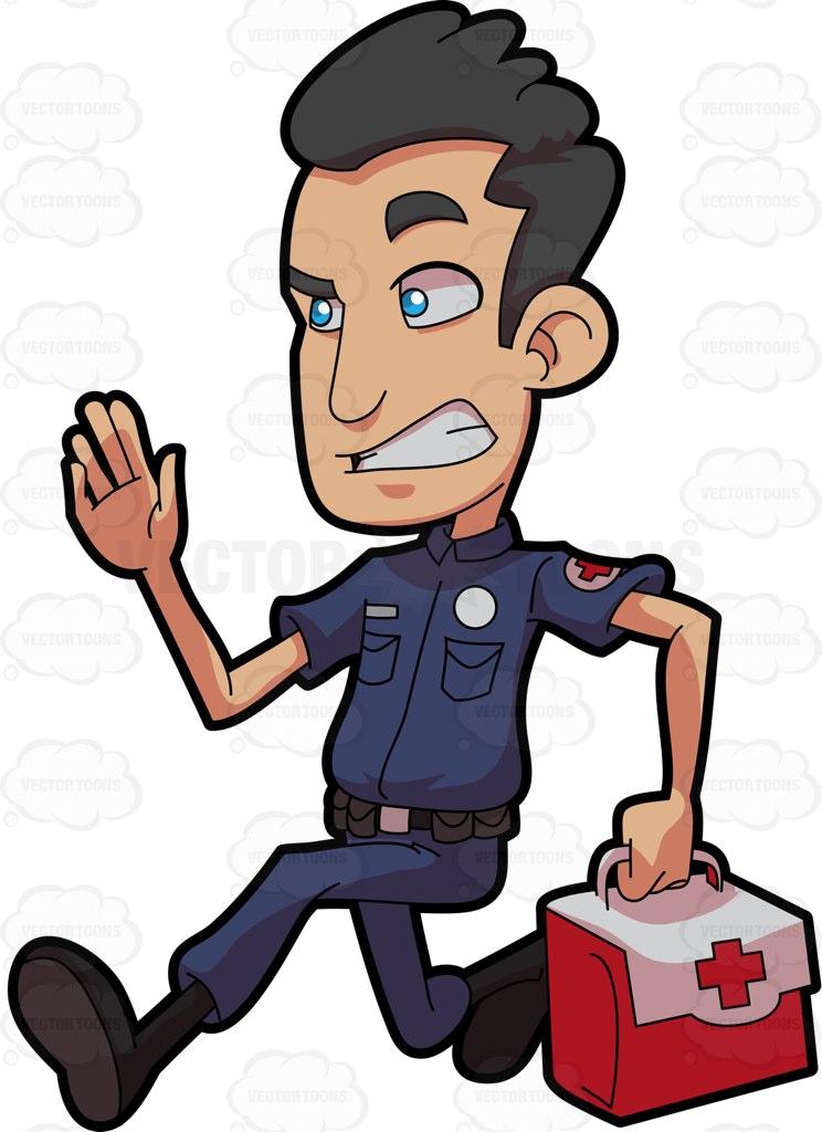 A Male Paramedic In A Rush Cartoon Clipart.