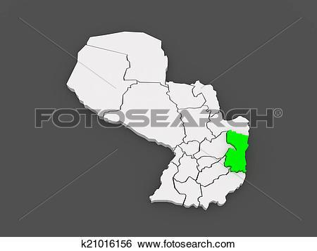 Stock Illustration of Map of Alto Parana. Paraguay. k21016156.