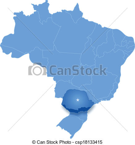 Vector Clip Art of Map of Brazil where Parana is pulled out.
