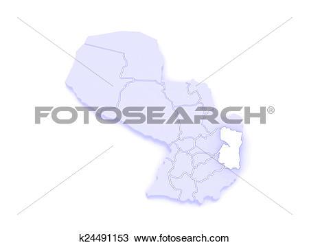 Drawing of Map of Alto Parana. Paraguay. k24491153.