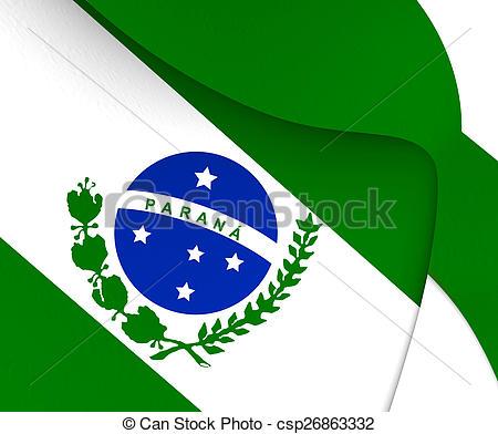 Drawings of Flag of Parana, Brazil. Close Up. csp26863332.
