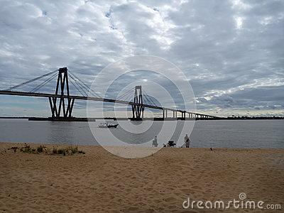 Bridge Over Parana River In Corrientes In Argentina Stock Photo.