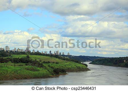 Stock Photos of view of river Parana from international bridge.