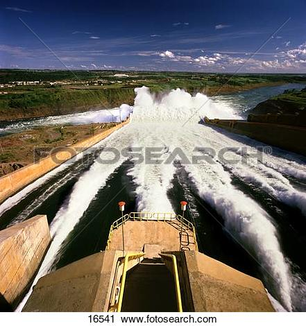 Stock Photography of Spillway on hydroelectric dam, Itaipi Dam.