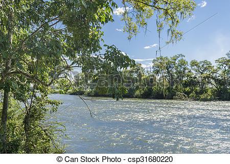 Stock Photo of Parana River at Iguazu Falls.