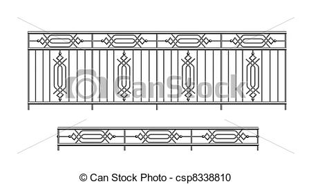 Stock Photography of railing parapet metal for exterior outline.