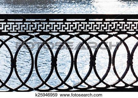 Stock Photograph of metal parapet on waterfront k25946959.
