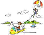 Clipart of Woman driving a boat and another woman parasailing on.