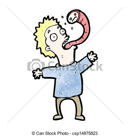 Vector Illustration of cartoon man with parasite csp14875823.