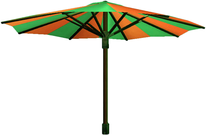 Parasol Green and Orange transparent PNG.