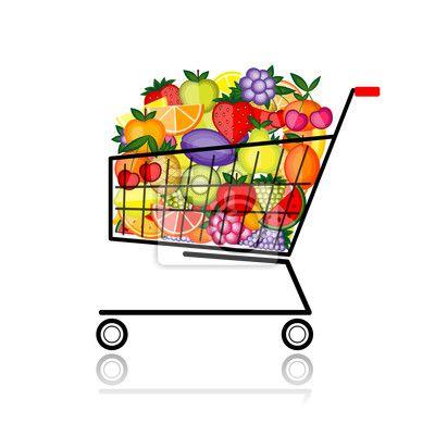 Carta da parati frutta nel carrello della spesa per il vostro.