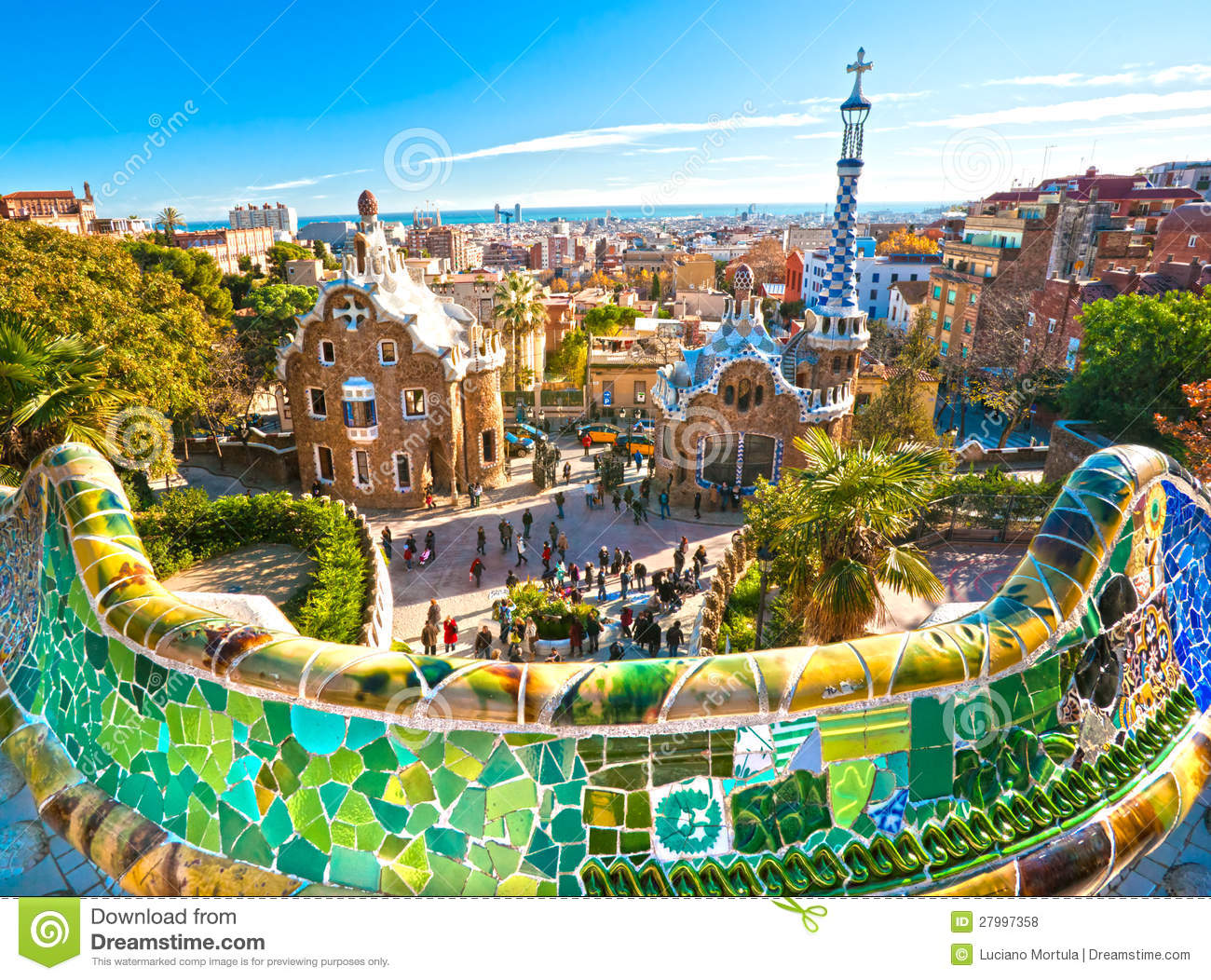 Park Guell In Barcelona, Spain. Stock Images.
