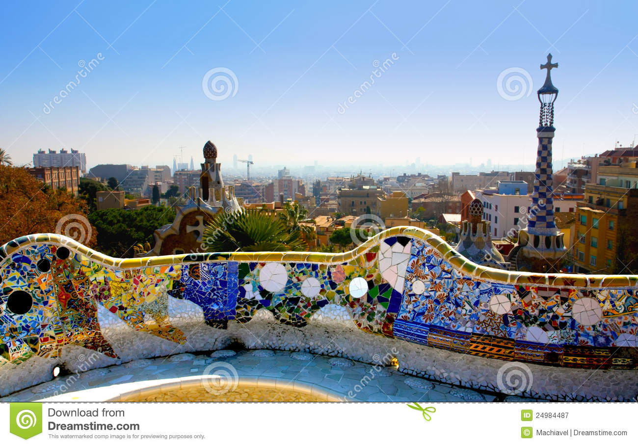 A View From The Park Guell, Barcelone, Spain Royalty Free Stock.