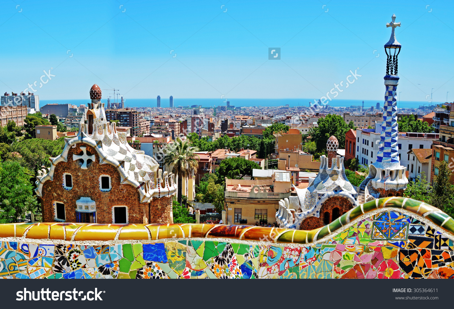 Park Guell By Architect Antoni Gaudi Stock Photo 305364611.