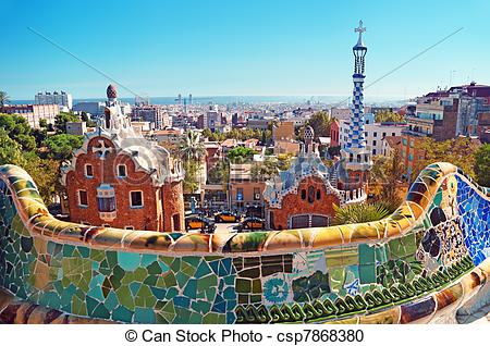 Stock Photography of Park Guell in Barcelona.