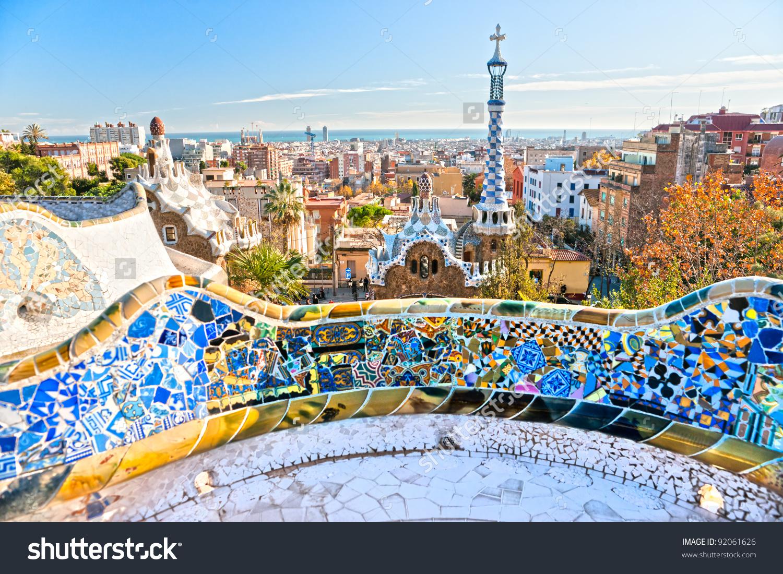 Park Guell Barcelona Spain Stock Photo 92061626.