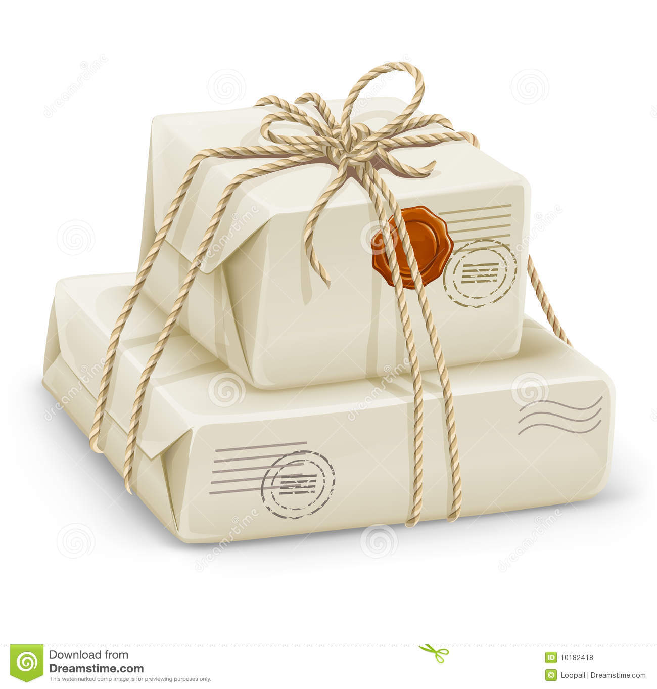 Parcel Post With Boxes Wired By Rope Royalty Free Stock Photos.