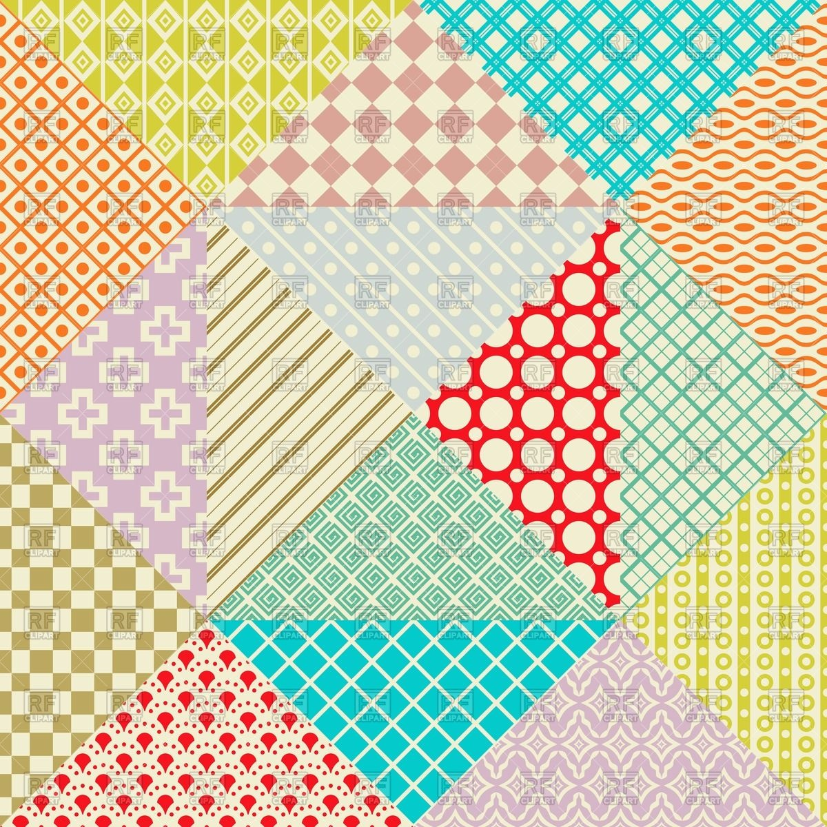 Retro patchwork seamless pattern Vector Image #64115.